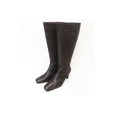【中古】マリーファム Marie femme サイドジップ レザー ロングブーツ 靴 焦茶 ブラウン 22cm レディース 【ベクトル 古着】