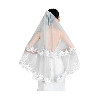 ウエディングベール-ブライダルベール-花刺繍レース縁-ショートベール-花嫁ベール
