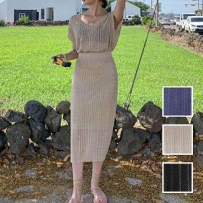 韓国 ファッション レディース セットアップ 夏 春 カジュアル naloI630  シースルー 透かし編み フレンチスリーブ シンプル コーデ 定番