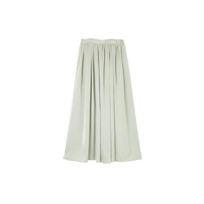 ユアーズ ur's サテンギャザースカート (ライトグリーン)