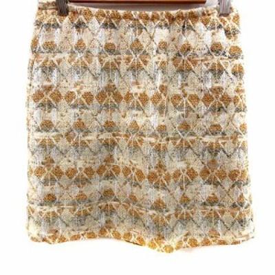 【中古】ドゥロワー Drawer スカート 台形 ミニ 総柄 刺繍 36 ベージュ 金 ゴールド /RT レディース