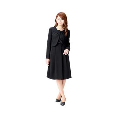 (マーガレット)m426 ブラックフォーマル レディース 喪服 アンサンブル ワンピース 礼服 洗える 冠婚葬祭 (ブラック 5 号 P)