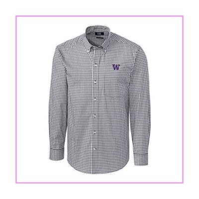 【送料無料】Cutter & Buck NCAA Washington Huskies Mens Long Sleeve Button Down Stretch Gingham Shirt, Charcoal, Small【並行輸入