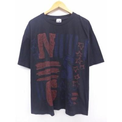 古着 ビンテージ Tシャツ 80年代 NSG 星 大きいサイズ 黒 ブラック XLサイズ 中古 メンズ 半袖 Tシャツ 古着