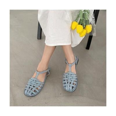 VANHECER レディース サンダル Pastel T Mesh Twist Weaving Buckle Flat Heel Strap Sandal Fisherman Sandal S#YW008