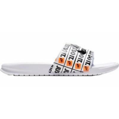 ナイキ メンズ サンダル シューズ Nike Men's Benassi Just Do It Print Slides White/Black