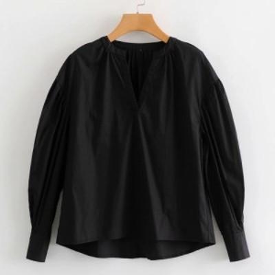 レディース Vネック ブラウス ロングシャツ プルオーバー トップス 長袖 カジュアル フェミニン ブラック 黒 S M L サイズ 送料無料