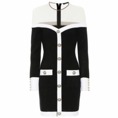 バルマン Balmain レディース パーティードレス ワンピース・ドレス Knit minidress Noir/Blanc