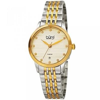 バージ 腕時計 レディースウォッチ Burgi Women's BUR146TTG Silver and Yellow Gold Quartz Watch With Diamond Dial And Two Tone Bracelet