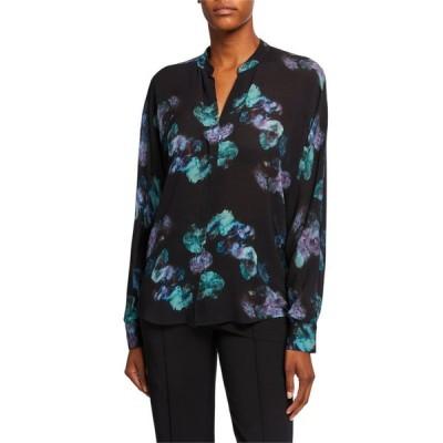 ヴィンス レディース シャツ トップス Painted Floral Button-Front Long-Sleeve Silk Blouse