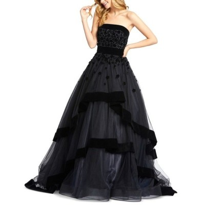 マックダガル ワンピース トップス レディース Strapless Velvet-Trim Tiered Ball Gown Black