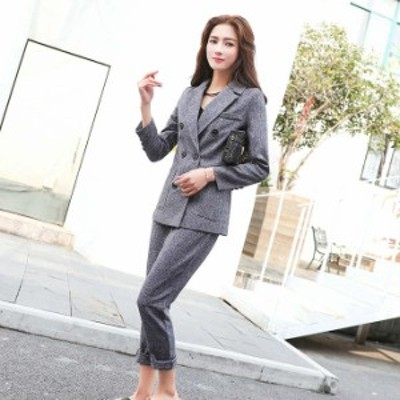 レディース 2点セット テーラードジャケット + クロップドパンツ セットアップ 長袖 お呼ばれ グレー S M L XL サイズ 送料無料