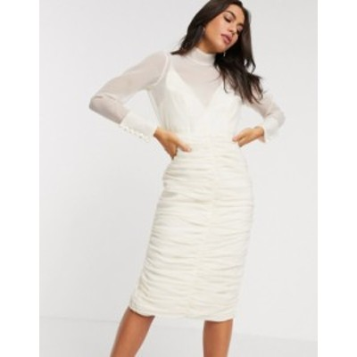 エイソス レディース ワンピース トップス ASOS DESIGN organza ruched pencil midi dress in Ivory Ivory