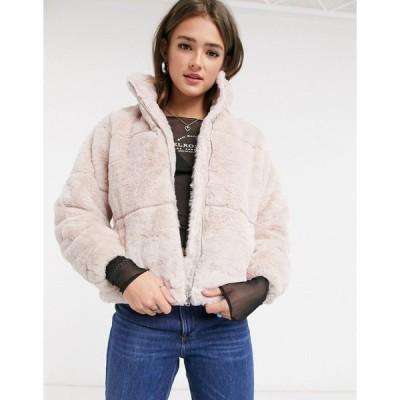 ニュールック コート レディース New Look faux fur stand neck jacket in pale pink エイソス ASOS ピンク