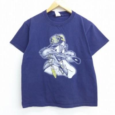 古着 半袖 ビンテージ Tシャツ 90年代 90s ルーニーテューンズ LOONEY TUNES ワイリーコヨーテ コットン クルーネック 紺 ネイビー Mサイ