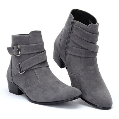 [スフォン] カジュアル ショートブーツ メンズ サイドジッパーブーツ クロスベルト ウエスタンブーツ 紳士靴 ワークブーツ ユニセックス (26CM
