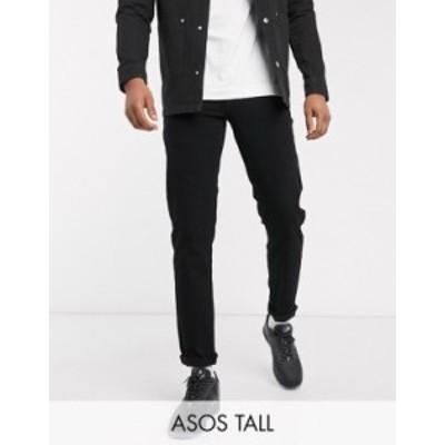 エイソス メンズ デニムパンツ ボトムス ASOS DESIGN Tall tapered jeans in black Black