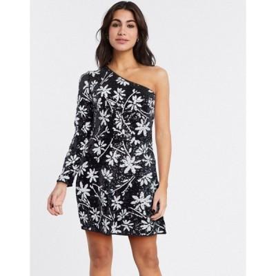 テルーラ レディース ワンピース トップス Talulah Lightening one shoulder floral mini dress