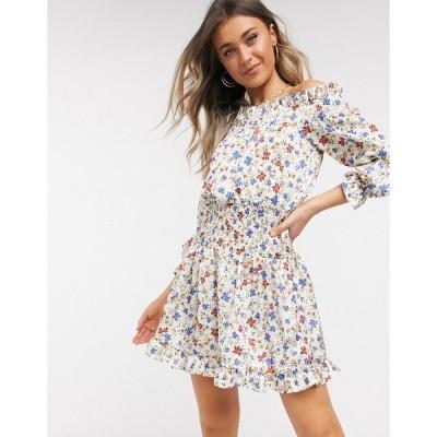 エイソス ミニドレス レディース ASOS DESIGN shirred satin mini dress with pephem in floral print エイソス ASOS