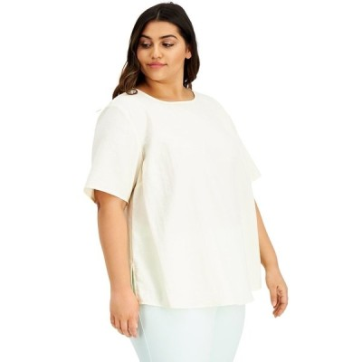 アルファニ カットソー トップス レディース Plus Size Boat-Neck Top, Created for Macy's Antique White