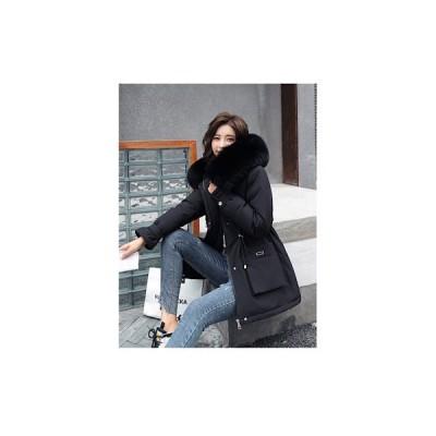 ファーフードモッズコート(ブラック)オーバーサイズ ビックファーコート 裏地ファー ジャケット 大きいサイズ