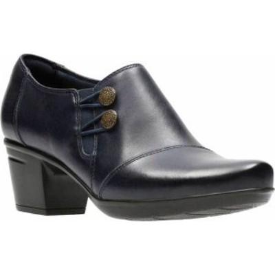 クラークス レディース ブーツ・レインブーツ シューズ Women's Clarks Emslie Warren Bootie Navy Full Grain Leather