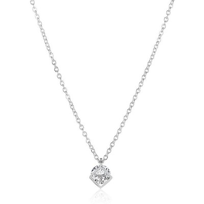 ウエストコーストジュエリー ELYA Cubic Zirconia Open Square Stainless Steel 18-Inch Cable Chain Necklace