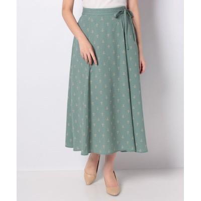 (Green Parks/グリーンパークス)巻き風リボンスカート/レディース グリーン