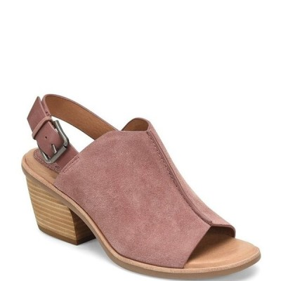 ソフト レディース サンダル シューズ Pelonia Suede Leather Slingback Stacked Heel Sandals