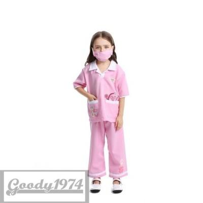 ハロウィン コスプレ キッズ ナース 看護婦 ストライプ 仮装 子供 女の子 小さいサイズ 110 120 130 子ども 仮装 衣装