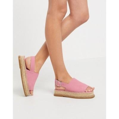 エイソス レディース パンプス シューズ ASOS DESIGN Hannah suede flatform espadrilles in pink