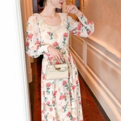 パーティードレス 結婚式 ロング ワンピース   結婚式 二次会 花柄  韓国風 オシャレ  ドレス 体型カバー 大人 ドレス 大きいサイズ 二次