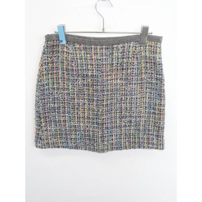 LAPIS LUCE(ラピスルーチェ)ラメツイードスカート 緑/紺 レディース Aランク 38
