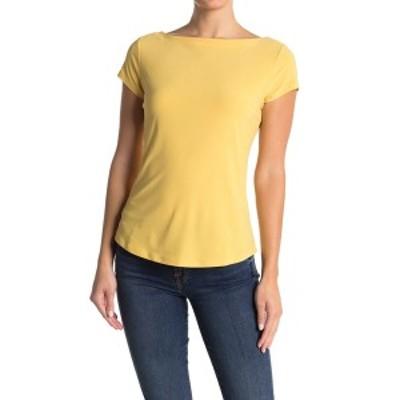 ハロゲン レディース Tシャツ トップス Boatneck Cap Sleeve T-Shirt YELLOW OCHRE