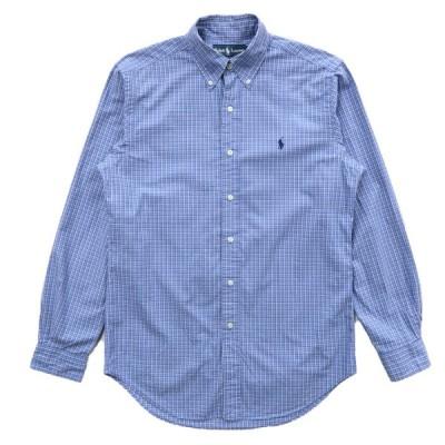 ポロラルフローレン ボタンダウンシャツ チェック 長袖 サックスブルー サイズ表記:S