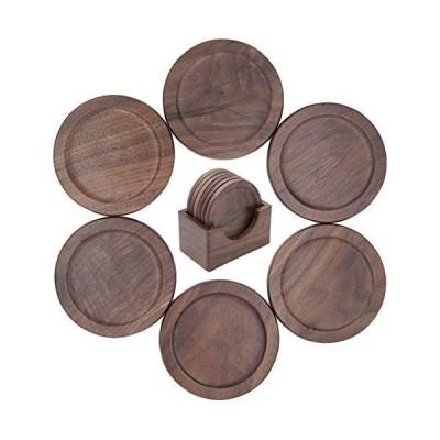 WEWINK PLUS 木製コースター おしゃれな茶托 6枚セット 防水 クルミ 収納ケース付き 和風コースター お茶 コーヒー用 ギフト用