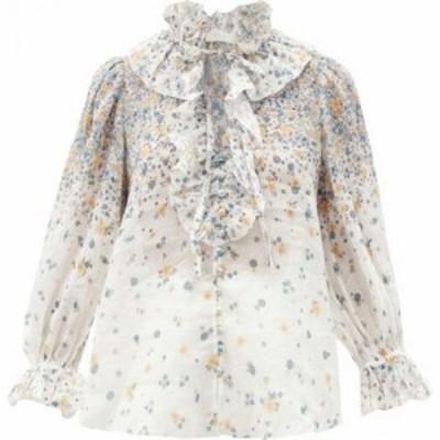 ジマーマン Zimmermann レディース ブラウス・シャツ トップス Carnaby ruffled floral-print ramie blouse White