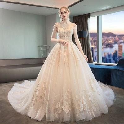ウェディングドレス白 パーティードレス 刺繍レース 花嫁ロングドレス 結婚式  露背 二次会 エレガント ビーズ お呼ばれ 挙式 姫系hs5152