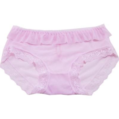 レディースショーツ ライトピンク 網メッシュ リボン付き 可愛い  セクシー  女性下着  着心地抜群 ランジェリー フィット 上品 優雅 オシャレ