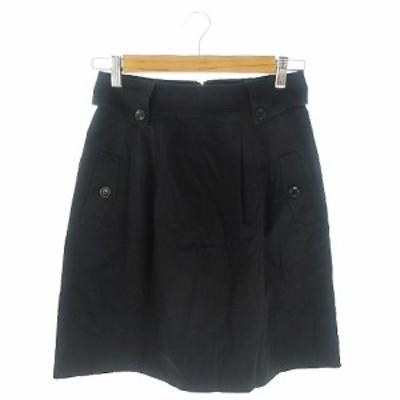【中古】クイーンズコート QUEENS COURT スカート フレア ひざ丈 2 黒 ブラック /AH8 ☆ レディース