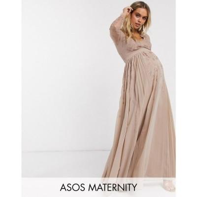 エイソス ASOS Maternity レディース ワンピース マタニティウェア マキシ丈 ASOS DESIGN Maternity embroidered pleated mesh detail maxi dress モーヴピンク