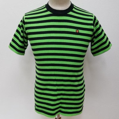 A BATHING APE アベイシングエイプ 半袖 Tシャツ T Shirt  BABY MILO ボーダー 半袖Tシャツ 日本製 タオル地 肩幅:39cm、身幅:44cm、着丈:63 10003261