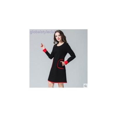 ワンピース 綿 大きいサイズ 春物 レディース 女性  長袖 ミニ 黒 ブラック