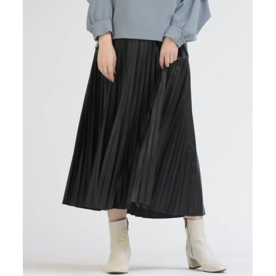 Droite lautreamont/ドロワットロートレアモン エコレザープリーツスカート ブラック M