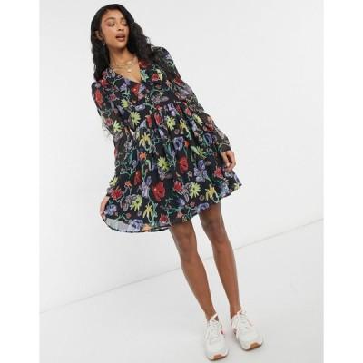ネイキッド ミニドレス レディース NA-KD collar floral print mini dress in multi エイソス ASOS