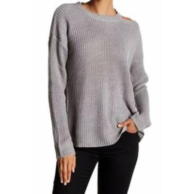 ファッション トップス RDI NEW Gray Womens Size XL Ribbed Cut Out Shoulder Pullover Sweater