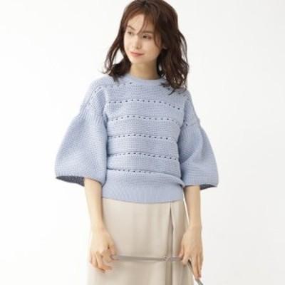 アクアガール(aquagirl)/袖コンシャス模様編みニット