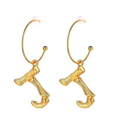 FOCALOOK Letter Charm Bamboo J Dangle 18k Gold Plated Round Hoop Drop