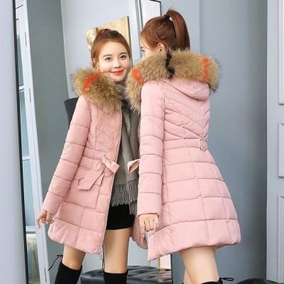 ダウンコート ダウンジャケット レディース 中綿 コート ロング丈 ファー フード付き 着痩せ アウター 体型カバー 秋 冬 暖かい 大きいサイズ