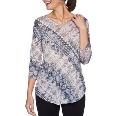 ルビーアールディー レディース Tシャツ トップス Petite Size Geo Diagonal Stripe Print Embellished Crisscross V-Neck 3/4 Sleeve Top